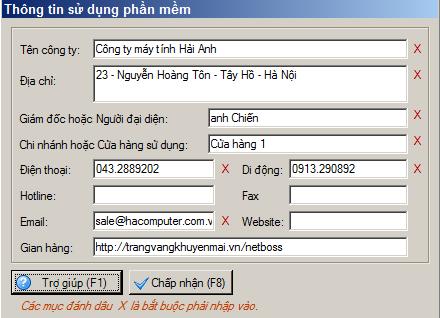 cập nhật thông tin sử dụng phần mềm