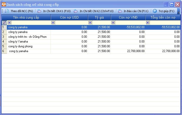 công nợ nhà cung cấp
